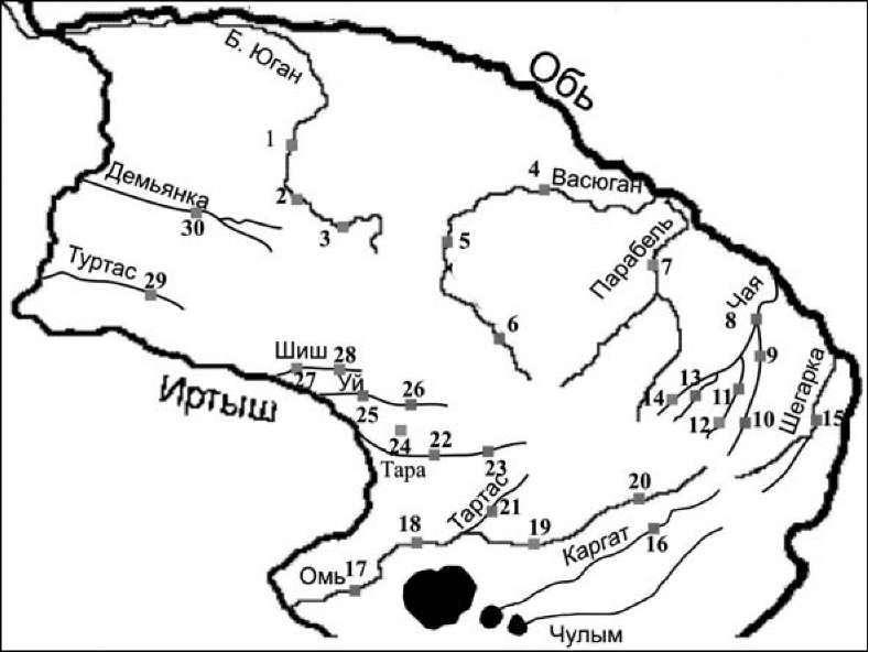 Карта-схема гидрологических