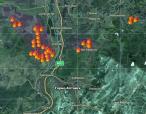 Пожары в Горном Алтае и рядом. Карта с сайта http://fires.kosmosnimki.ru/
