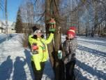Учащиеся школы участвуют в подкормке зимующих птиц нашей местности