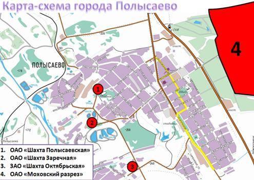 Карта-схема города Полысаево