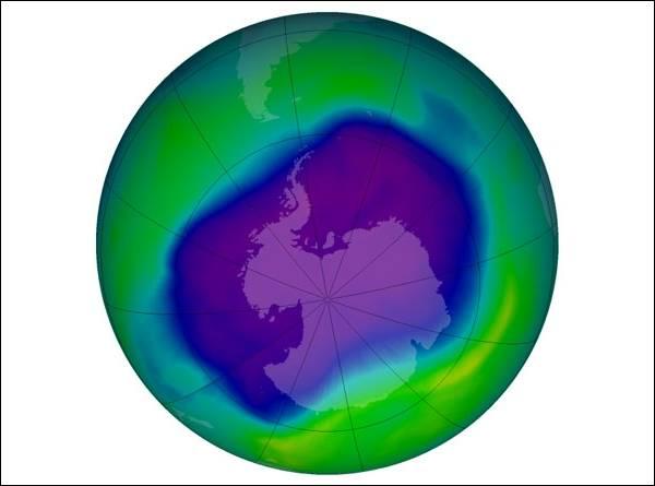 Озоновая дыра в сентябре 2006 года (изображение НАСА)