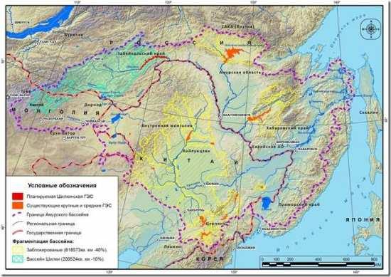 Шилкинская ГЭС и действующие ГЭС Амурского бассейна